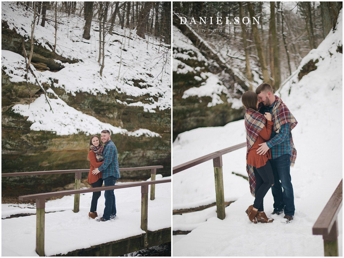 Wildcat Den Engagement Session In The Snow Quad Cities Wedding