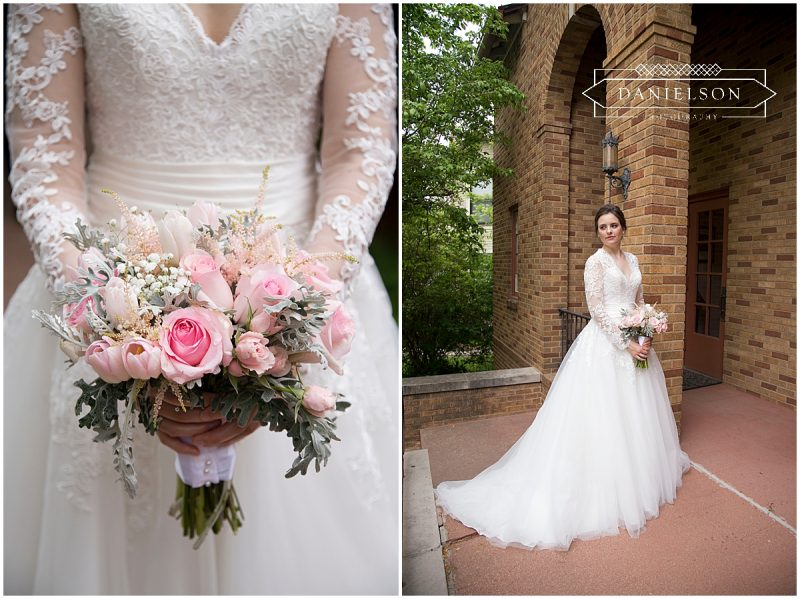 Bridal portrait of bride and close up of pink bridal bouquet outside St. Raphael Orthodox Church in Iowa City